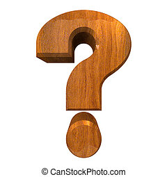 question mark symbol in wood (3d)