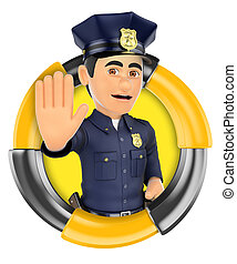 3D Logo Policeman ordering to stop with hand - 3d logo...