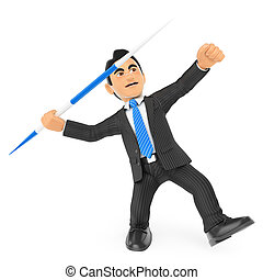 3D Businessman throwing a javelin