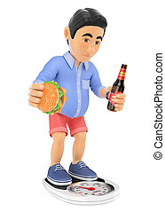 3D Man in shorts with overweight after the summer