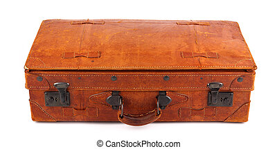 retro suitcase 3 - An old leather suitcase on white...