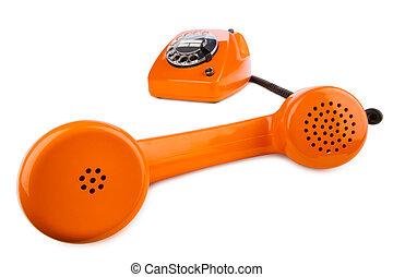 orange retro phone - altes retro telefon mit wahlscheibe in...