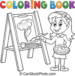 Coloring book girl painting on canvas