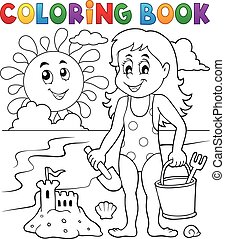Coloring book girl playing on beach 1 - eps10 vector...