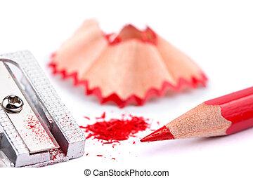 red pencil and sharpener - red pencil and sharpener on white...