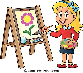 Girl painting on canvas 1