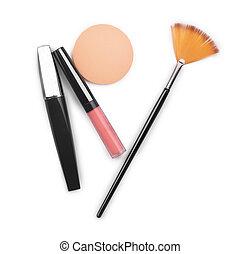 lipstick mascara blusher face isolated on white