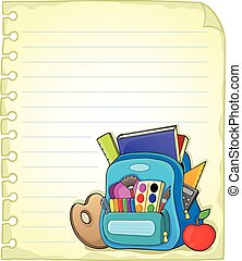 Notebook page with schoolbag 1 - eps10 vector illustration
