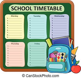 Weekly school timetable composition 5 - eps10 vector...