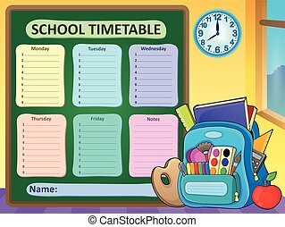 Weekly school timetable composition 6 - eps10 vector...