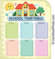 Weekly school timetable thematics 7 - eps10 vector...