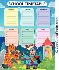 Weekly school timetable thematics 9 - eps10 vector...