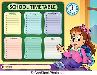 Weekly school timetable theme 7 - eps10 vector illustration