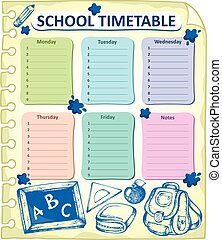 Weekly school timetable topic 4 - eps10 vector illustration