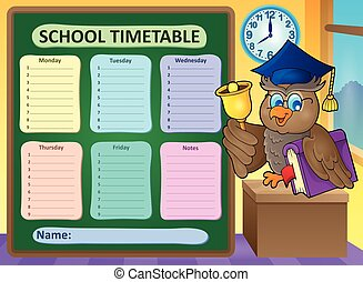 Weekly school timetable topic 9 - eps10 vector illustration