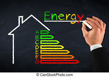 energy efficiency - chalkboard with hand and energy...