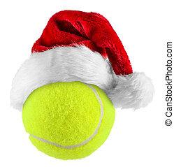 tennisball - santa hat on tennis ball on white background