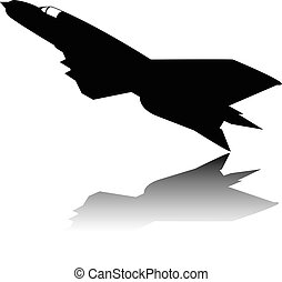 Silhouette Military Airplane Vector
