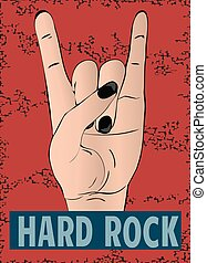 Rock hand gesture on red background