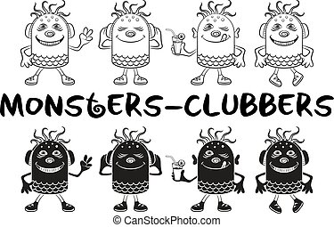 Contour and Silhouette Monsters Set - Set of Cute Cartoon...