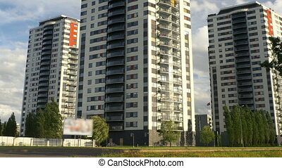 Apartment buildings. Multistoried modern and stylish living...