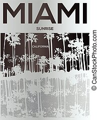 Miami - vector illustration concept in vintage graphic style...