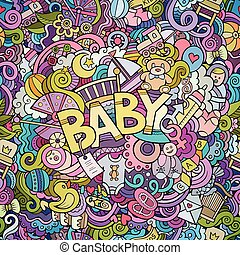 Cartoon vector hand drawn Doodle Baby illustration. Colorful...