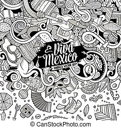 Cartoon hand-drawn doodles Latin American frame - Cartoon...