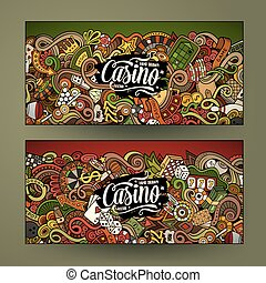 Cartoon line art vector doodles casino banners