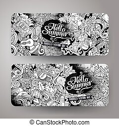 Cartoon vector hand-drawn camp doodle banners - Cartoon...