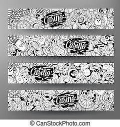 Cartoon line art vector doodles casino banners - Cartoon...