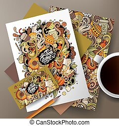 Cartoon doodles cafe, tea, coffe corporate identity set -...