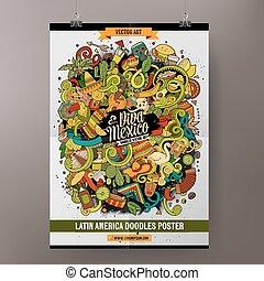 Cartoon hand-drawn doodles Latin American poster - Cartoon...
