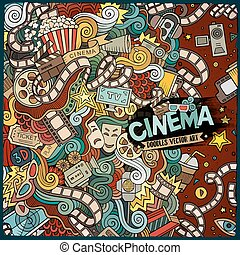 Cartoon cute doodles cinema frame design - Cartoon cute...