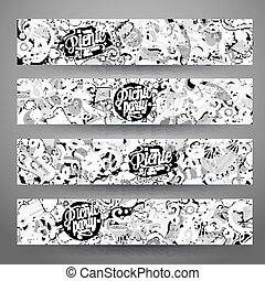 Cartoon vector picnic doodle vertical banners