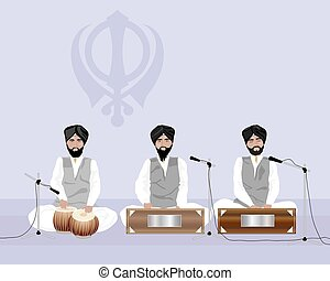 sikh music - a vector illustration in eps 10 format of sikh...