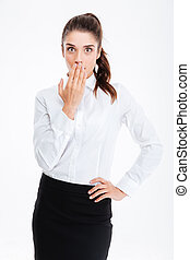 Businesswoman covering her mouth with palm isolated - Young...