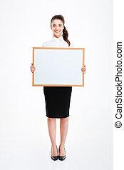 從事工商業的女性, 年輕, 板, 藏品, 空白, 微笑