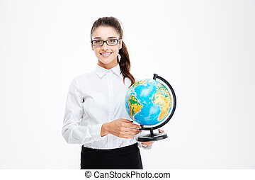 Smiling beautiful young busineswoman in glasses standing and...