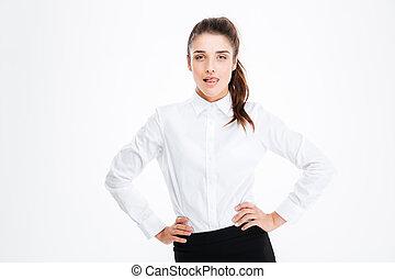 Portrait of confident seductive young busineswoman
