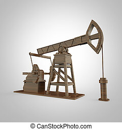 High detailed wood pump-jack, oil rig. isolated  rendering.  fuel industry, economy crisis illustration.