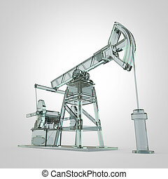High detailed glass pump-jack, oil rig. isolated  rendering.  fuel industry, economy crisis illustration.