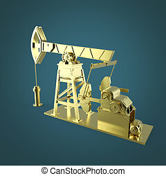 High detailed golden oil pump-jack, rig. isolated rendering.  fuel industry, economy crisis illustration.