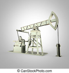 High detailed metal pump-jack, oil rig. isolated  rendering.  fuel industry, economy crisis illustration.