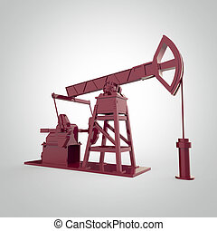 High detailed red metallic pump-jack, oil rig. isolated  rendering.  fuel industry, economy crisis illustration.