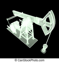 High detailed x-ray pump-jack, oil rig. isolated  rendering.  fuel industry, economy crisis illustration.