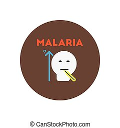 Vector icon on circle various symptoms of Malaria on the...
