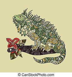 Vector hand drawn iguana. Ethnic tribal styled pattern....