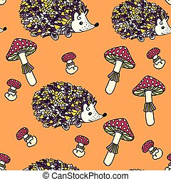 Seamless pattern with hedgehogs and mushrooms. Cute cartoon...