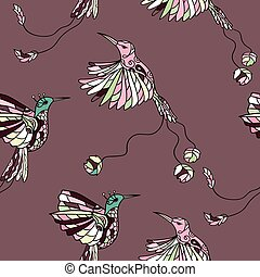 Pattern with couple colibri - Seamless pattern with colibri....
